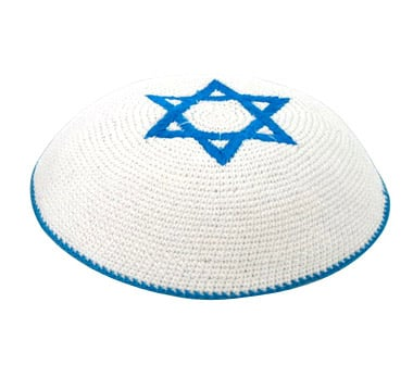 White Knit Kippot with center Blue Magen David
